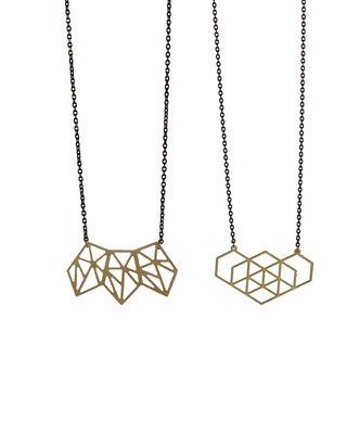 Sautoir forme géométrique graphique noir doré