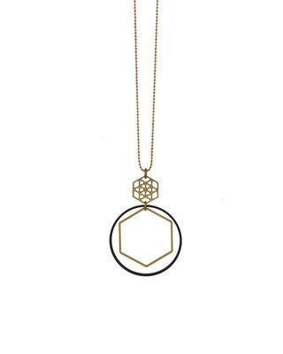 Sautoir formes géométriques hexagone cercle noir doré