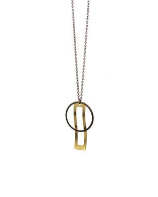 Sautoir géométrique bronze doré