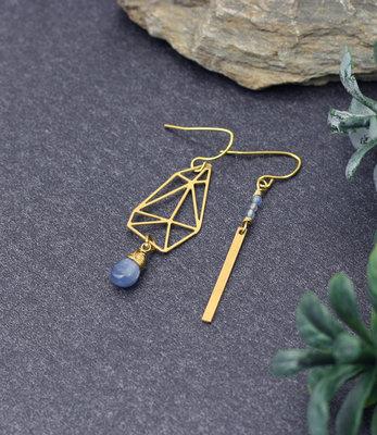 Boucles d'oreilles asymetriques avec kyanite