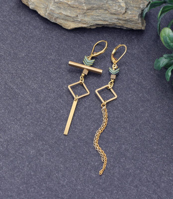 Boucles d'oreilles dores turquoises asymétriques