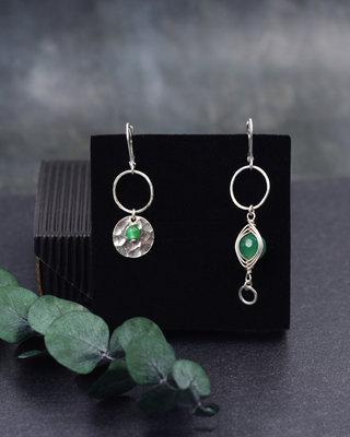 Boucles d'oreilles en argent L'oeil vert