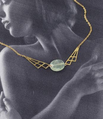 Collier geometrique vert pastel