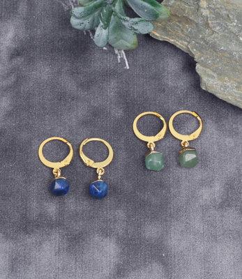 Mini créoles doré avec lapis lazuli