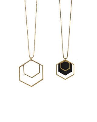 Sautoir formes géométriques hexagones noirs dorés