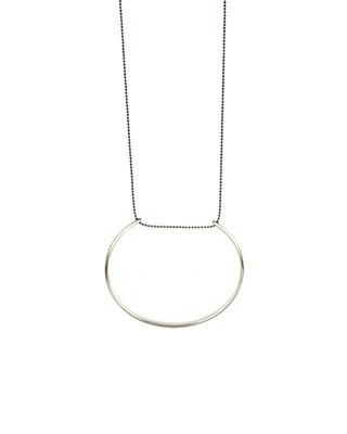 Sautoir géométrique pendentif argenté demi-cercle