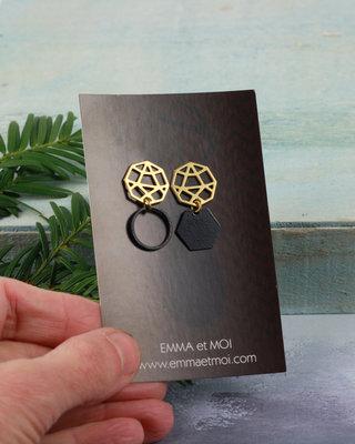 Boucles d'oreilles clous hexagones disassociees noir et dore