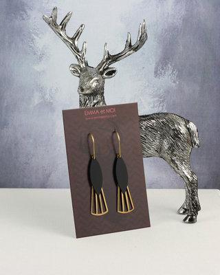 Boucles d'oreilles noir-dores style art deco