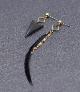 Golden black shark tooth earrings posts