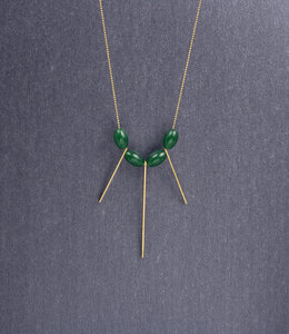 Sautoir jade geometrique